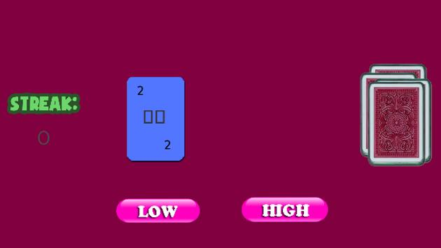 Cards Games Free - High Low screenshot 3