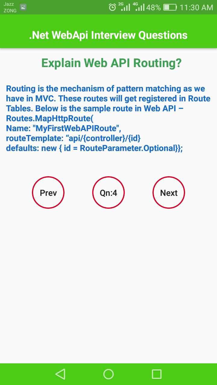 Web Api Interview Questions for Android - APK Download