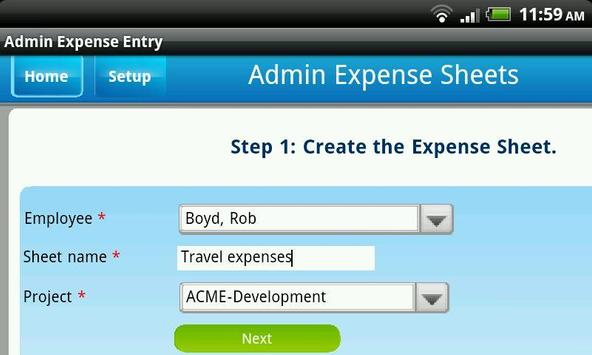 Dovico Admin Expense Entry poster