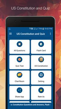 US Constitution and Quiz poster