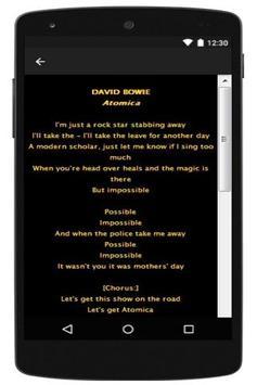 David Bowie Lyrics 2016 apk screenshot