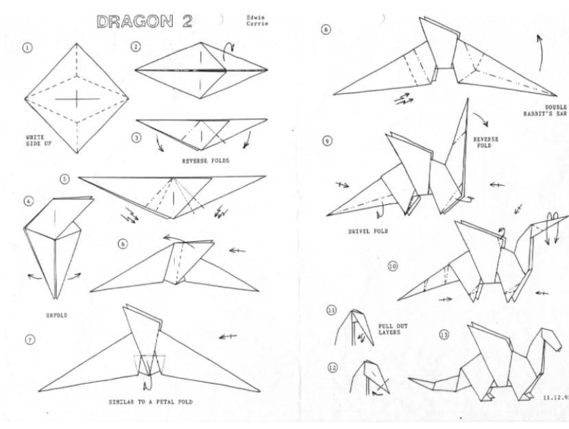 Origami Dragon Instructions and Diagram | 626x830