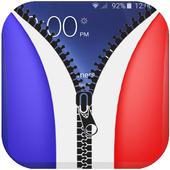 France Drapeau Zipper Lock New icon
