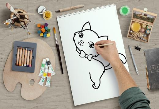learn how to draw and coloring Cute cartoons poster