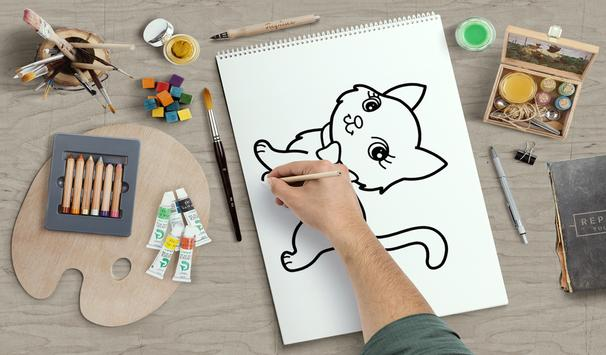 learn how to draw and coloring Cute cartoons screenshot 1