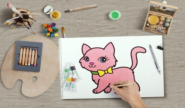 learn how to draw and coloring Cute cartoons screenshot 2