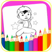 coloring cartoon for kids icon