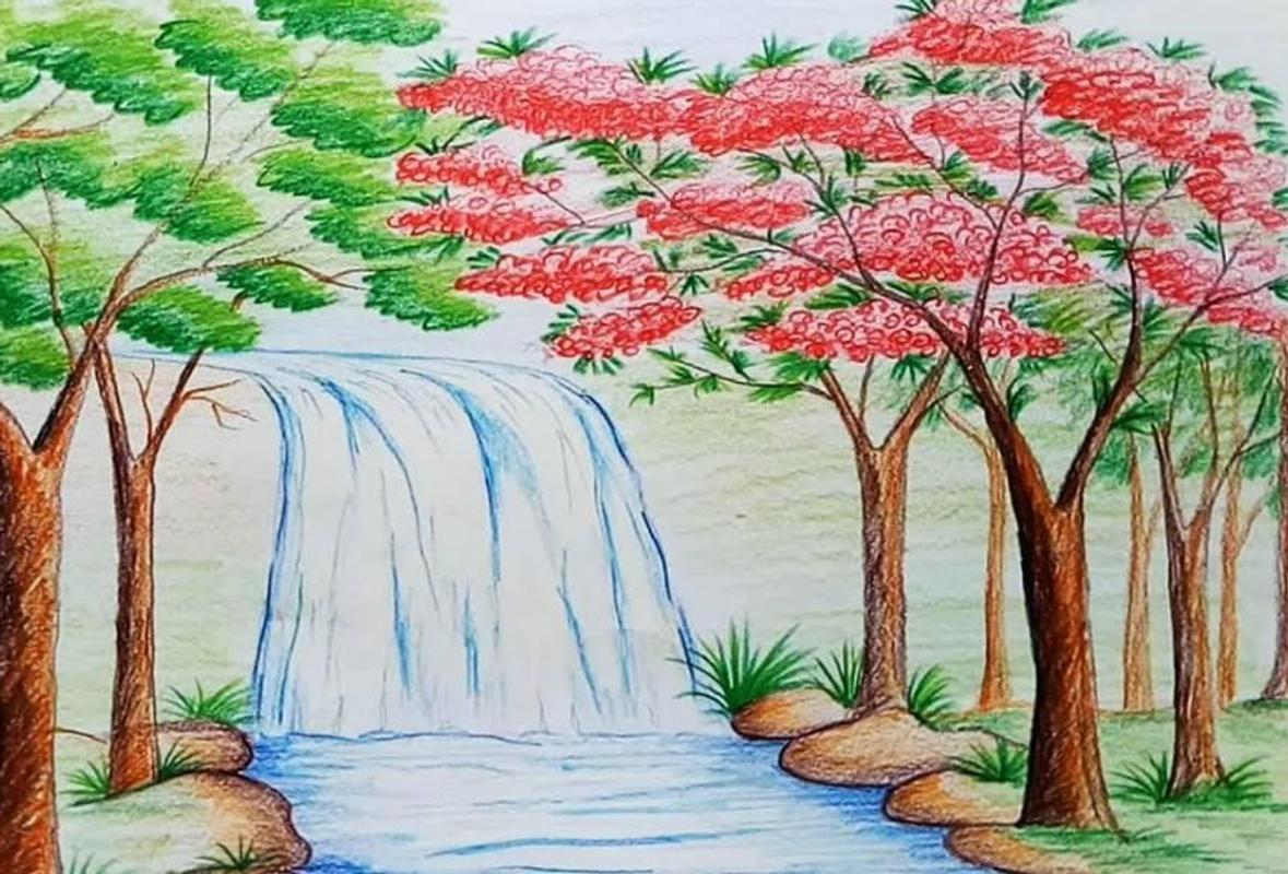 Drawing natural village scenery स्क्रीनशॉट 2