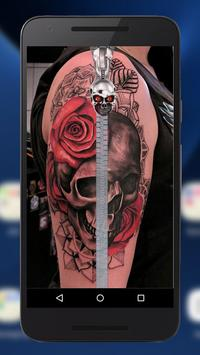 Tattoo Skull Lock ~ Zipper Lock Screen poster