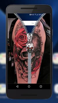 Tattoo Skull Lock ~ Zipper Lock Screen apk screenshot