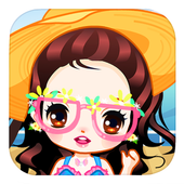 Cute girls seaside travel - dressup games for kids icon