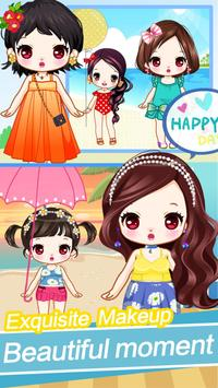 Cute girls seaside travel - dressup games for kids poster