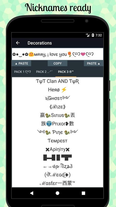 Cool Text Symbols Letters Emojis Nicknames Apk
