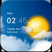 Transparent clock & weather icon