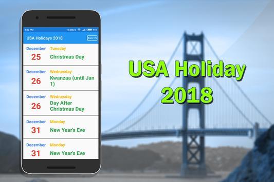 USA Holiday List 2018 poster
