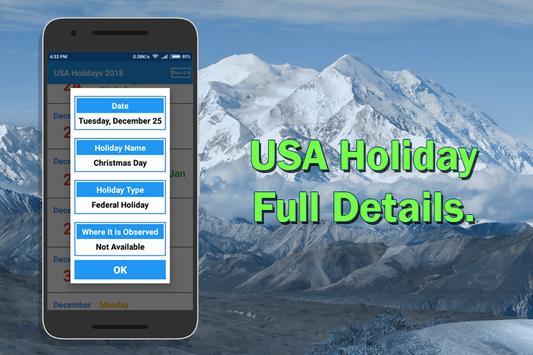 USA Holiday List 2018 screenshot 1