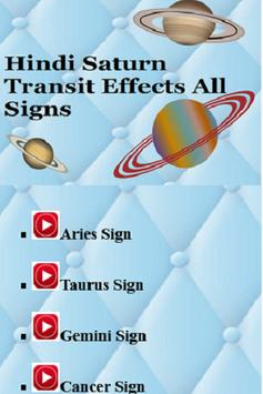 Hindi Saturn Transit Effects All Signs poster