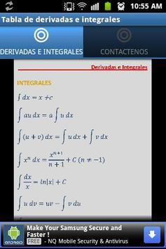 Tabla Derivadas e Integrales apk screenshot