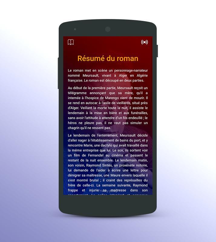 L\'étranger roman audio Camus APK Download - Free Books & Reference ...