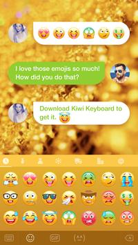 Kiwi Keyboard Glitter Golden emoji screenshot 1