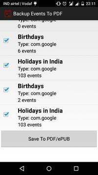 Backup Calendar Events To PDF screenshot 1