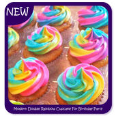 Modern Double Rainbow Cupcake For Birthday Party icon