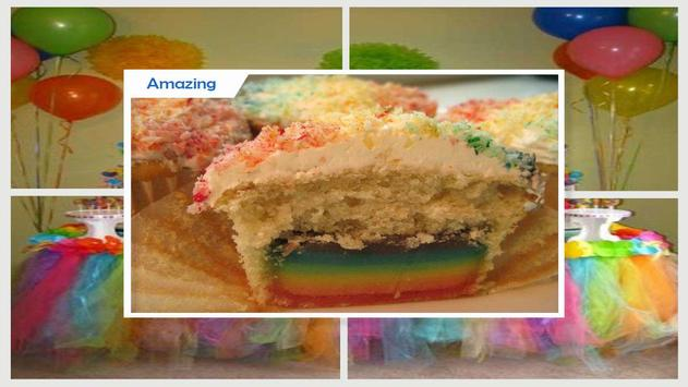 Modern Double Rainbow Cupcake For Birthday Party screenshot 4