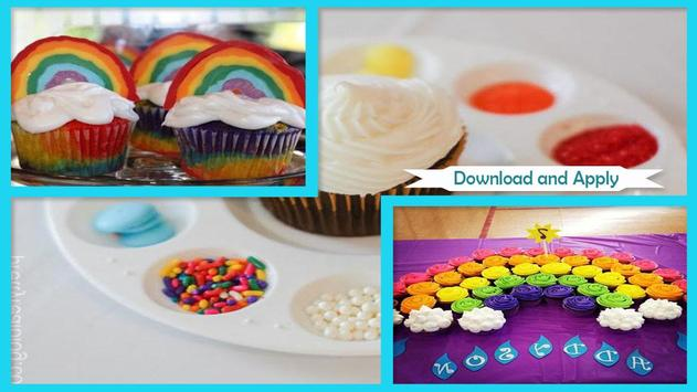 Modern Double Rainbow Cupcake For Birthday Party screenshot 2