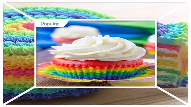 Modern Double Rainbow Cupcake For Birthday Party screenshot 3