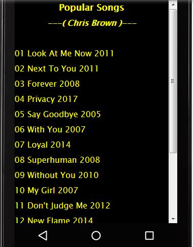 Chris Brown SOngs and Lyrics for Android - APK Download