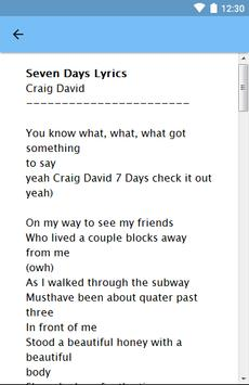 Craig David - Seven Days Lyrics apk screenshot