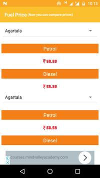 Fuel Like Petrol Diesel Price or Rate in India poster