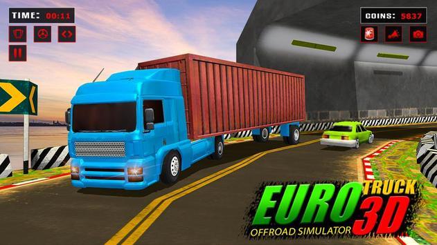 欧元 卡车 模拟器 自由: 货物 卡车 司机 游戏 截图 4