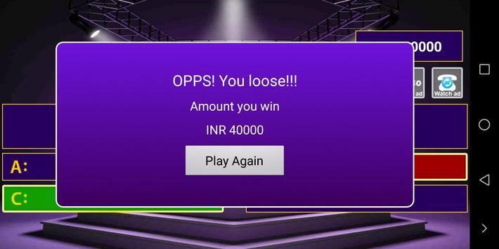 Play Crorpati hindi 2018 स्क्रीनशॉट 5