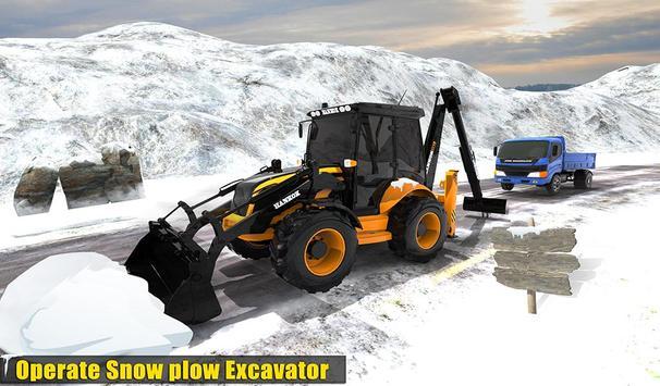 Clean Road 3D Snow Heavy Excavator Crane Rescue screenshot 8