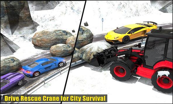 Clean Road 3D Snow Heavy Excavator Crane Rescue screenshot 2