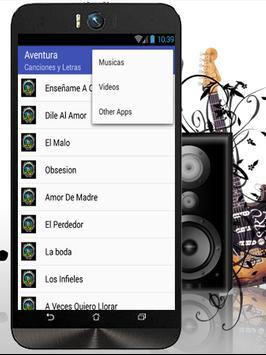 Aventura Los Infieles Musicas apk screenshot