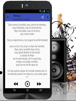 Pereza Top letras de Canciones apk screenshot