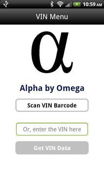 Alpha Omega - VIN Barcode Scan poster
