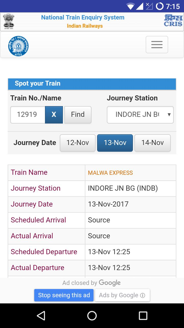 Live Train Status- PNR Status NTES Indian Rail for Android