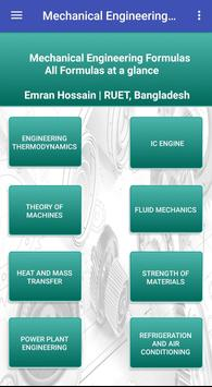 Mechanical Engineering Formulas plakat