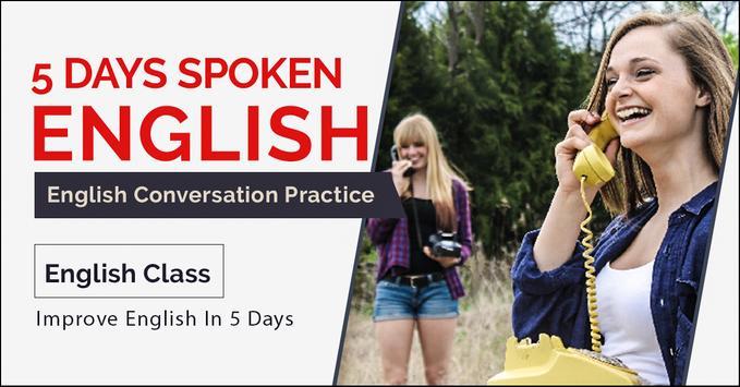 Spoken English Classes App 5 Days - Pronunciation poster