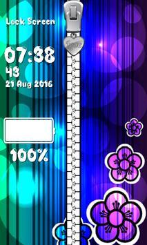 Glow Flower Zipper Lock Screen apk screenshot