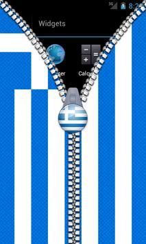 Greece Flag Zipper Lock Screen apk screenshot