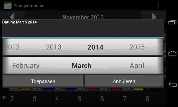 Ploegenrooster apk screenshot