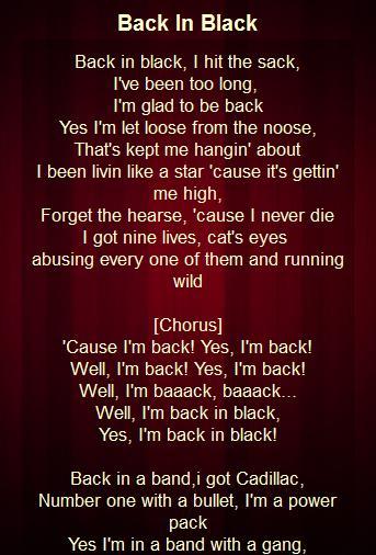 Back in black lyrics