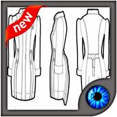 Fashion Design Flat Sketch New icon
