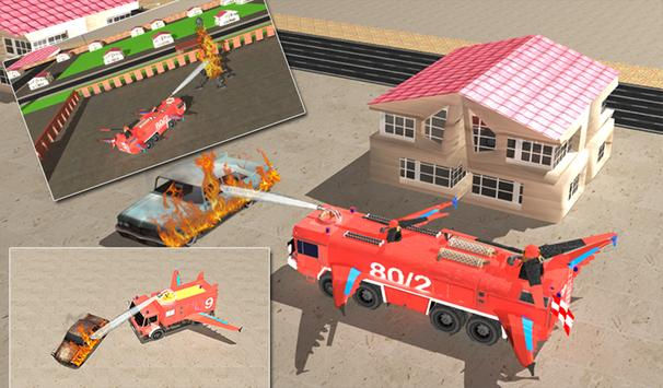 Flying Firefighter Truck 3D apk screenshot