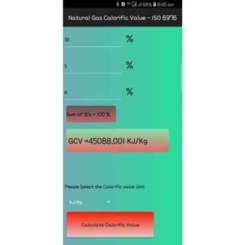Calorific Value Calculator screenshot 1
