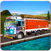 Drive elevated cargo truck icon